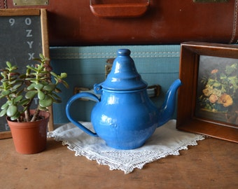 Vintage Small Blue Enamel Teapot Tea Pot Retro