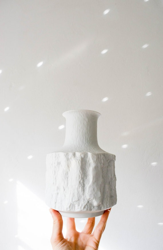 Mid Century Matte White Porcelain Tree Bark Vase // Bareuther West Germany