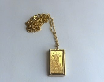 Pure Gold 1 gram Statue of Liberty Credit Suisse Gold bar Pendant Necklace | ready to ship!