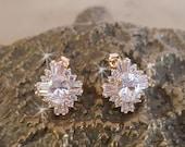 Rose Gold Cubic Zirconia Earrings, Wedding Earrings,  CZ Stud Earrings, Bridal Earrings, Rose Gold Wedding Earring Studs