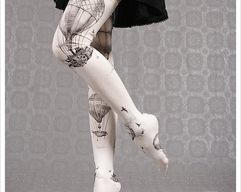 Ivory Hot Air Balloons by Carousel Ink - thigh high socks - stockings tights - thigh highs