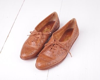 Vintage Bass Woven Brown Leather Oxfords, Womens 5 / ITEM292