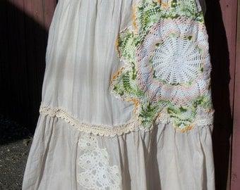 Long Bohemian Beige Skirt with Crochet Doily - Coachella Junk Gypsy Shabby Chic Style - Size 10