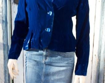 Vintage Royal Blue Velvet Collarless Handmade Blazer