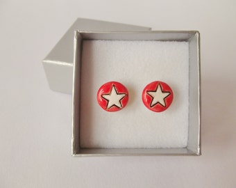 Ceramic Pottery Small Stud Earrings in a Gift Box, Star Earrings, Post Earrings, Star Jewellery, Everyday Earrings, Red Earrings