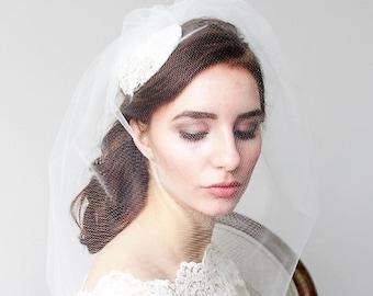 Ivory Veil Bridal Hat Fascinator Wedding Accessories Vintage Inspired