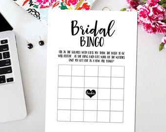 Bridal shower bingo Etsy