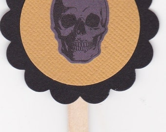 Cupcake Toppers - Halloween - Skulls - Set of 6