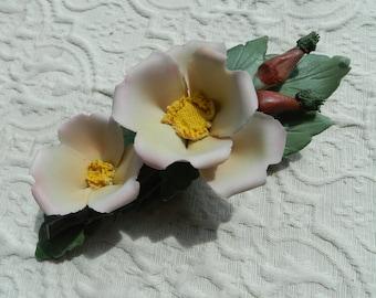 Vintage Authentic Capodimonte Porcelain Pale Pink Wild Roses - Authentic