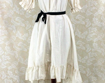 """Steampunk Ragamuffin Dress with Short Sleeves in Natural Cotton -- Size S, Fits Bust 33""""-36"""" -- Ready to Ship"""