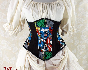 "Captain America Cotton Print Patchwork Waspie Underbust Corset w/Front Busk -- Size 20, Fits Waist 23""-25"" - Ready to Ship"