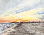 Original Watercolor Painting Evening Escape Harwichport Ocean Theme 11 x 15 by Erica Dale Strzepek