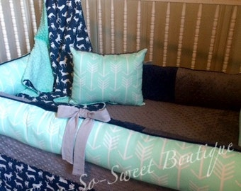 Mint, Opal, Navy, and Gray Deer and arrow  4 piece Bedding Set