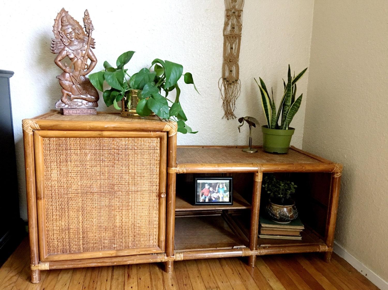 Rare Mid Century Bohemian Rattan Wicker Console Tv Stand