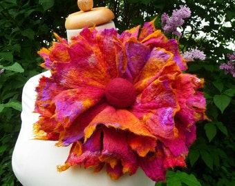 felted flower corsage pin brooch, handmade, felted wool flower, silk,lagenlook, handmade, shawl pin, gold, large, huge,MADE TO ORDER
