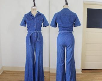 1970's Denim Jumpsuit / Bellbottoms Pantsuit / Vintage Small Dark Blue Jean One Piece