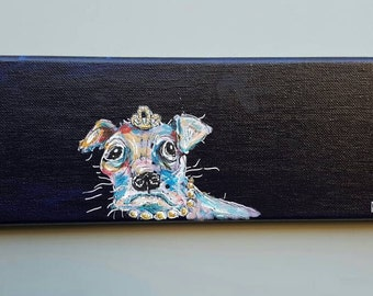 Dog painting,  ugly cute, rectangular wall art, princess dog, original art, acrylic paint, colorful chihuahua with croqn and pearls
