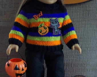 Fits American Girl, Halloween Sweater and Hat, Black pants, Ugly Halloween Sweater, Hand Knitted ,OOAK
