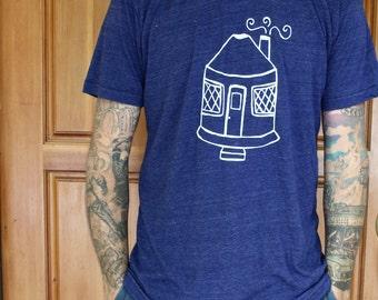 Yurt Shirt - TRI-BLEND Mens/Unisex T Shirt - Hand Screen Printed