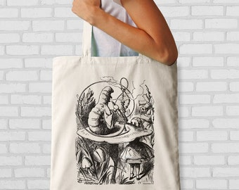 Alice in Wonderland and the caterpillar tote bag-Alice tote bag-Wonderland bag-custom tote-birthday tote bag-NATURA PICTA NPTB083