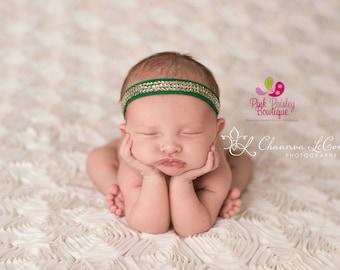 Halo Headband, Green Halo, green Halo Headband, St Patricks Day Headband, Newborn Halos, Newborn Headband, Baby Headband, Baby Girl Bows