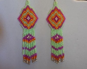 Native American Style Beaded Bright Green Aztec Earrings Boho, Hippie, Southwestern Gypsy, Belly Dancer, Brick Stitch Ready to Ship