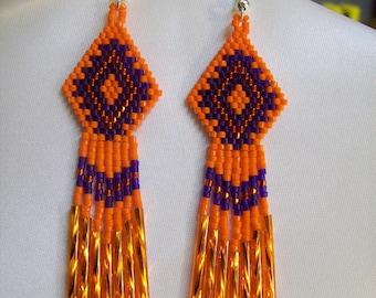 Native American Style Beaded Orange Purple Earrings Southwestern, Bohemian, Hippie, Brick Stitch, Peyote, Gypsy, Great Gift