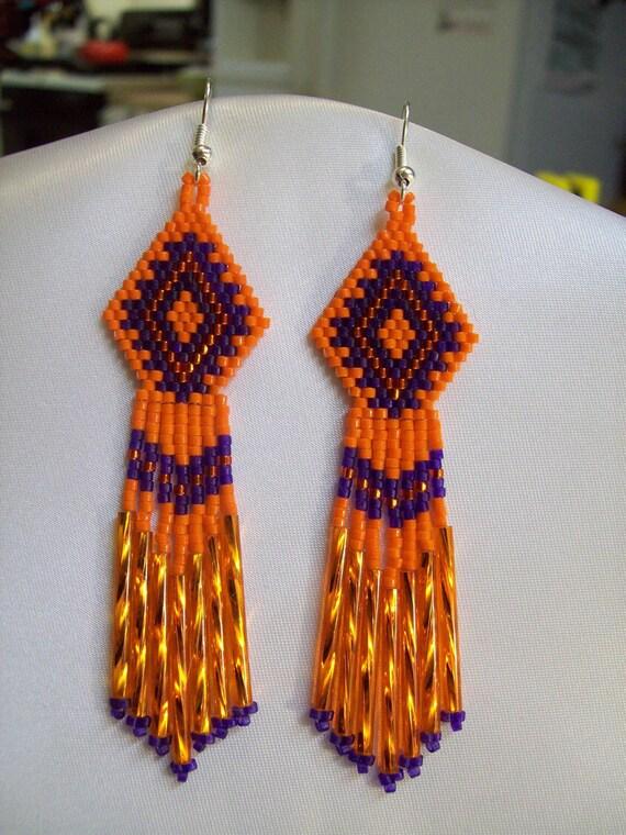 Native American Style Beaded Orange Purple Earrings Southwestern, Boho, Hippie