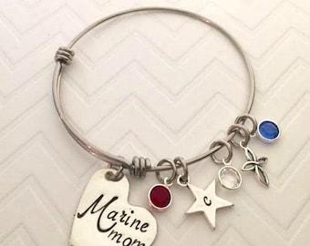 Military Mom Jewelry - Personalized Military Jewelry- Hand Stamped Jewelry - Marine Mom  - Army Mom Bracelet - Navy Mom - The Charmed WIfe