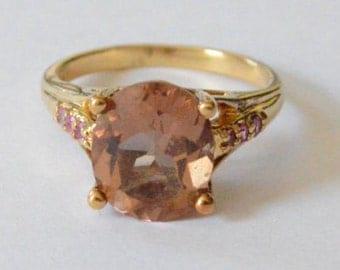 SALE Vintage Sterling Silver Vermeil Artist Signed Pink Gemstone Band Size 8
