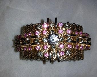 "Vintage WIDE 1-1/4"" Gold Tone Mesh PINK & Lavender  RHINESTONE Cuff Bracelet"