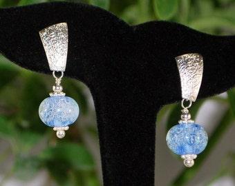 beautiful blue bubble lampwork earrings, silver earrings, SRAJD