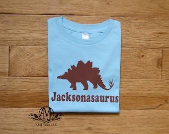 Personalized kids dinosaur shirt,  stegosaurus dinosaur shirt, personalized dinosaur birthday t shirt for boys