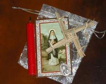 Goddess St. Brigid Votary Set - Celtic Solar Cross - Prayer Candle - Pewter Pendant Bridget Maman Brigitte Kildare Ireland Scotland Imbolc