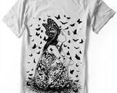 Butterfly Girl Manga T-shirt Japanese anime shirt cute screentones - Unisex - Women sizes-  Hand Screenprinted