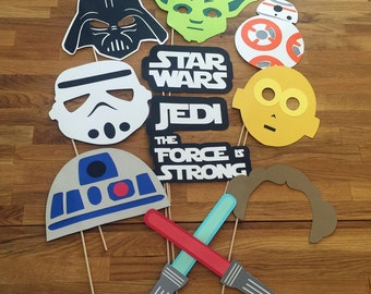 Photo Props: The Large Star Wars Set (12 Pieces) - party wedding birthday jedi force decoration yoda darth vader bb-8 centerpiece awakens