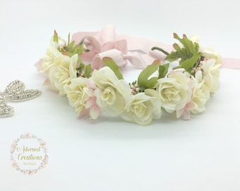 Flower Girl Crown, Cream and Blush Pink Halo Headband, Mommy and Me Flower Crown
