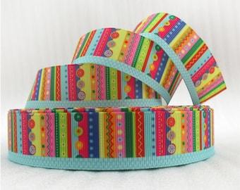"""Stripes Patterened 1"""" Grosgrain Ribbon"""