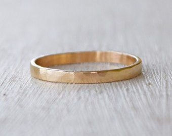 Hammered Solid 14K Gold Band - Wedding Band - Delicate Jewelry - Petite Jewelry - Stacking Ring - Custom Made - Metalwork