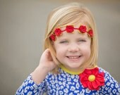 Felt Garland Headband,Red Rose Garland Headband,Felt Flower Headband,Halo Headband,Newborn Baby,Toddler,Girls,Women,Flower Girl,Photo Prop