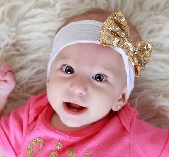 White or Baby Pink Nylon Headband with Sequin Bow, baby headband, infant bow, girl headband by Lil Miss Sweet Pea