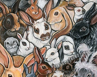 Bunnies Print, Rabbit Breeds, Animal Collage, Pet Portrait, Poster Art, Nursery Decor, Pet Owner Gift, Large Wall Art