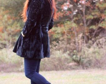 1970s classic black plush coat. Size M 6/8