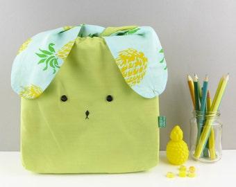 Children's bags - Fabric bag - Bento bag - pineapple fabric - Japanese bunny rabbit bag  - lunch bag - nursery bag - Easter bags