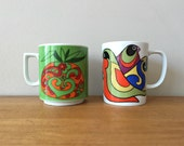 Psychedelic Mod 1960s Coffee Mugs Tea Cups