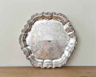 Large Silver Tray Round Silverplate Serving Ottoman Tray