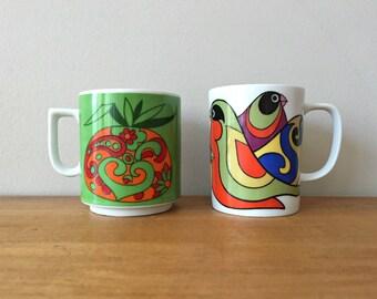 Psychedelic Mod 1960s Coffee Mugs Tea Cups