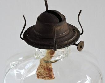 Vintage Glass Kerosene/Oil Lamp,Home Decor,Lighting,Country Chic,Rustic