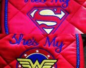 Superman or Wonder Woman Embroidered Saddle Pad
