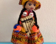 South American Peruvian Doll in Traditional Costume Mama with Babies Indian Souvenir Vintage Antique Art Unique Gift Tribal Bohemian